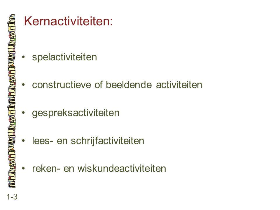 Kernactiviteiten: 1-3 spelactiviteiten constructieve of beeldende activiteiten gespreksactiviteiten lees- en schrijfactiviteiten reken- en wiskundeact