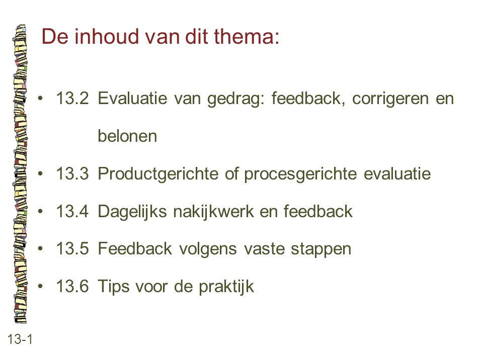 De inhoud van dit thema: 13-1 13.2 Evaluatie van gedrag: feedback, corrigeren en belonen 13.3 Productgerichte of procesgerichte evaluatie 13.4 Dagelij