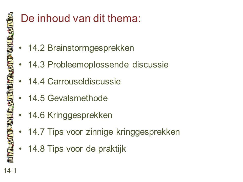 De inhoud van dit thema: 14-1 14.2 Brainstormgesprekken 14.3 Probleemoplossende discussie 14.4 Carrouseldiscussie 14.5 Gevalsmethode 14.6 Kringgesprek
