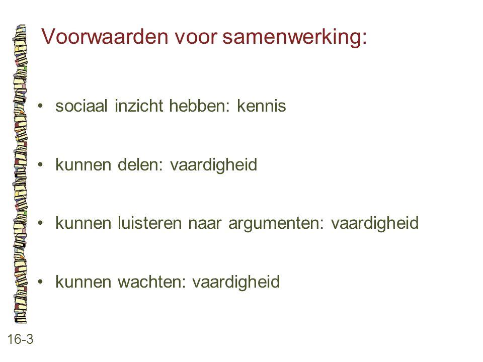 Voorwaarden voor samenwerking: 16-3 sociaal inzicht hebben: kennis kunnen delen: vaardigheid kunnen luisteren naar argumenten: vaardigheid kunnen wach
