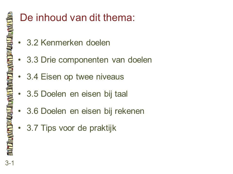 De inhoud van dit thema: 3-1 3.2 Kenmerken doelen 3.3 Drie componenten van doelen 3.4 Eisen op twee niveaus 3.5 Doelen en eisen bij taal 3.6 Doelen en