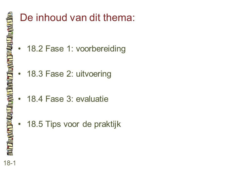 De inhoud van dit thema: 18-1 18.2 Fase 1: voorbereiding 18.3 Fase 2: uitvoering 18.4 Fase 3: evaluatie 18.5 Tips voor de praktijk