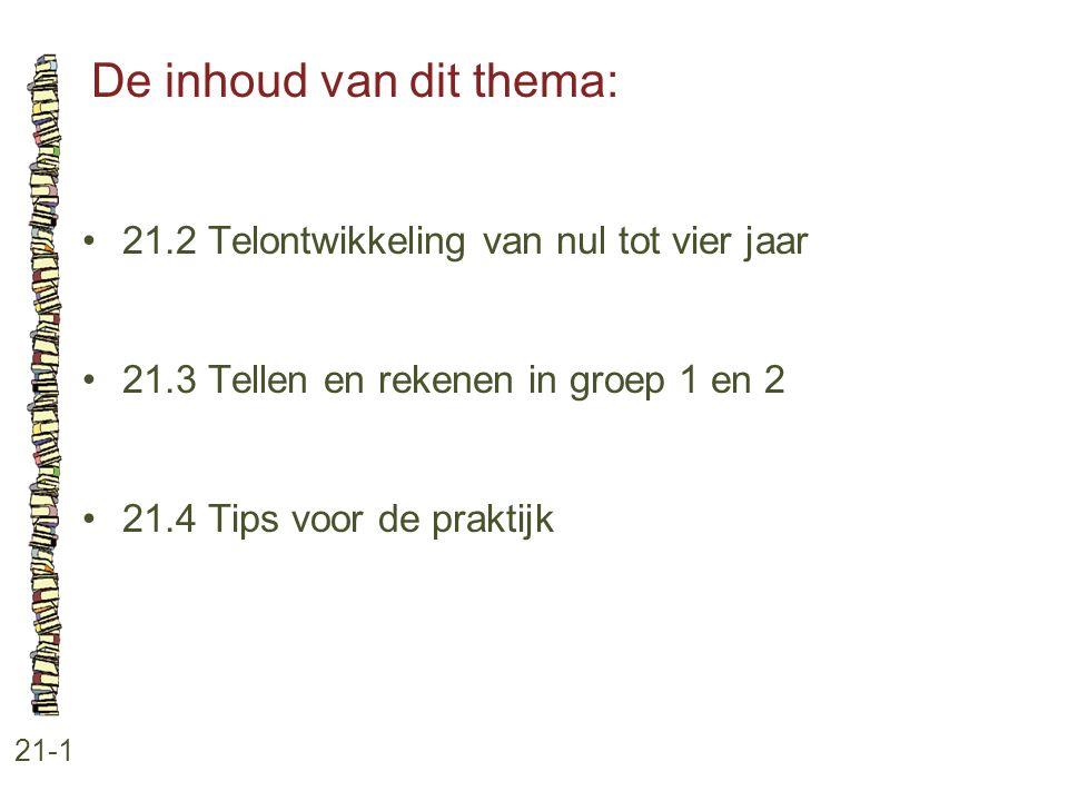 De inhoud van dit thema: 21-1 21.2 Telontwikkeling van nul tot vier jaar 21.3 Tellen en rekenen in groep 1 en 2 21.4 Tips voor de praktijk