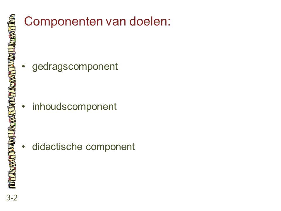 Componenten van doelen: 3-2 gedragscomponent inhoudscomponent didactische component