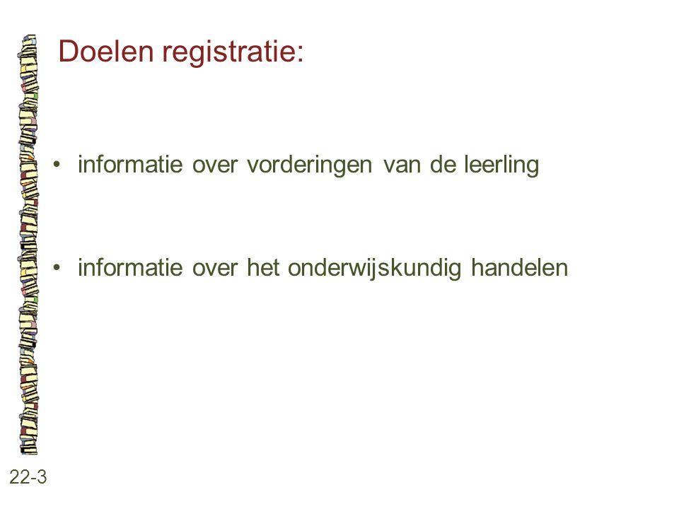 Doelen registratie: 22-3 informatie over vorderingen van de leerling informatie over het onderwijskundig handelen