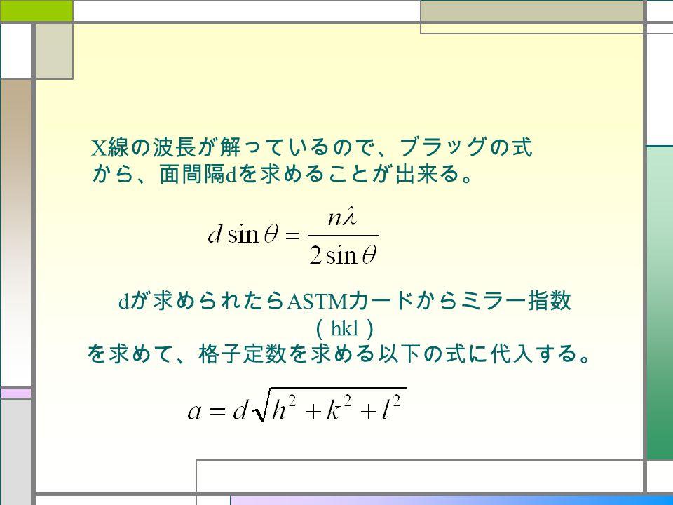 X 線の波長が解っているので、ブラッグの式 から、面間隔 d を求めることが出来る。 d が求められたら ASTM カードからミラー指数 ( hkl ) を求めて、格子定数を求める以下の式に代入する。