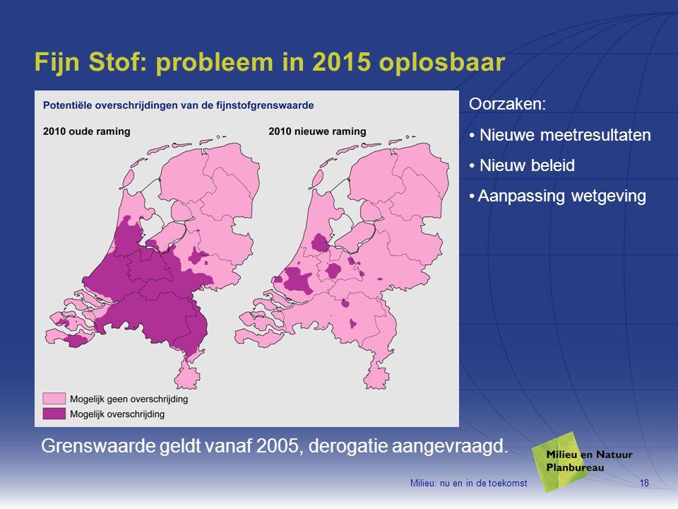 Milieu: nu en in de toekomst18 Fijn Stof: probleem in 2015 oplosbaar Grenswaarde geldt vanaf 2005, derogatie aangevraagd.