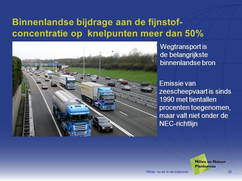 Milieu: nu en in de toekomst20 Binnenlandse bijdrage aan de fijnstof- concentratie op knelpunten meer dan 50% Wegtransport is de belangrijkste binnenlandse bron Emissie van zeescheepvaart is sinds 1990 met tientallen procenten toegenomen, maar valt niet onder de NEC-richtlijn