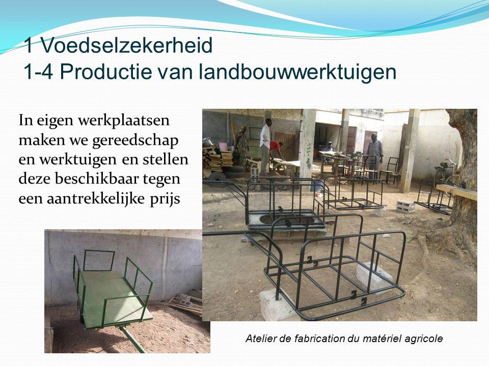 In eigen werkplaatsen maken we gereedschap en werktuigen en stellen deze beschikbaar tegen een aantrekkelijke prijs Atelier de fabrication du matériel agricole 1 Voedselzekerheid 1-4 Productie van landbouwwerktuigen