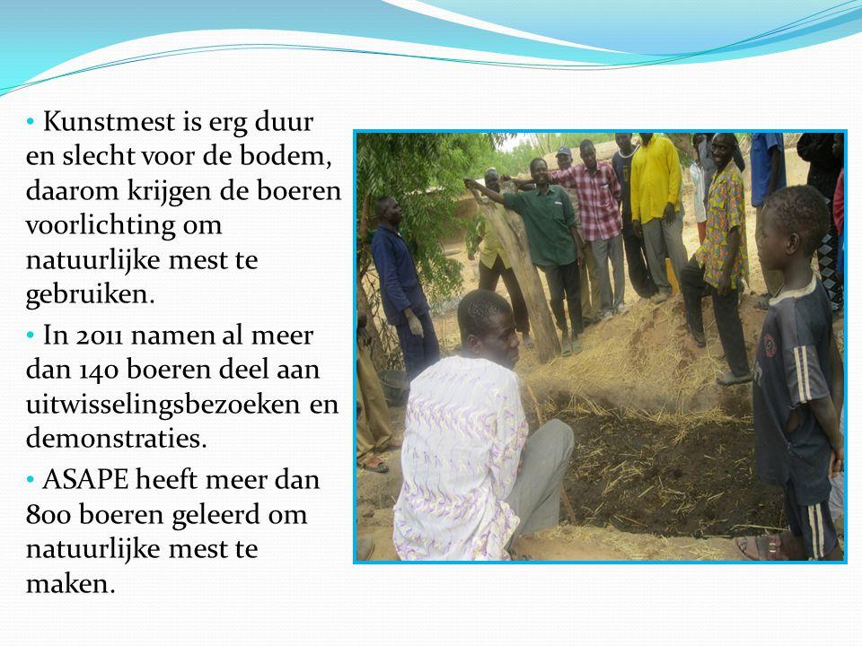 Kunstmest is erg duur en slecht voor de bodem, daarom krijgen de boeren voorlichting om natuurlijke mest te gebruiken. In 2011 namen al meer dan 140 b