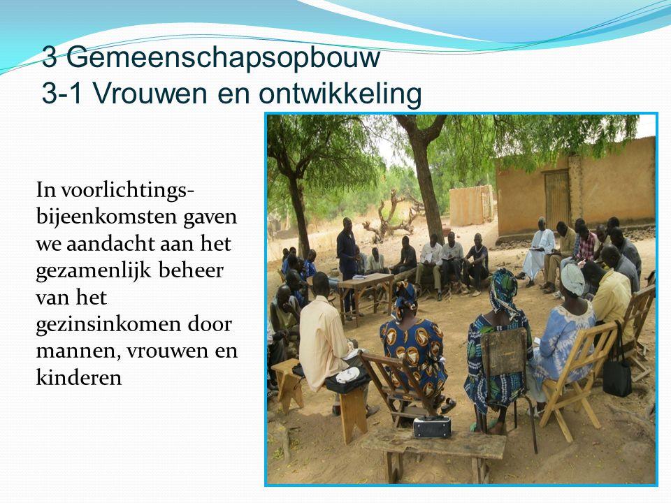 In voorlichtings- bijeenkomsten gaven we aandacht aan het gezamenlijk beheer van het gezinsinkomen door mannen, vrouwen en kinderen 3 Gemeenschapsopbouw 3-1 Vrouwen en ontwikkeling