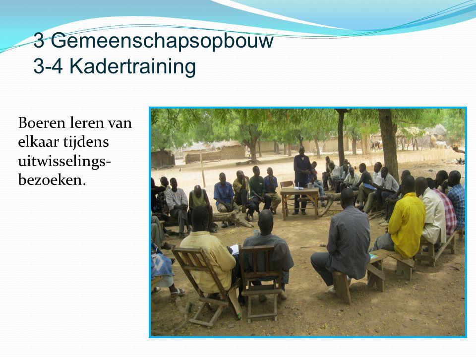 Boeren leren van elkaar tijdens uitwisselings- bezoeken. 3 Gemeenschapsopbouw 3-4 Kadertraining