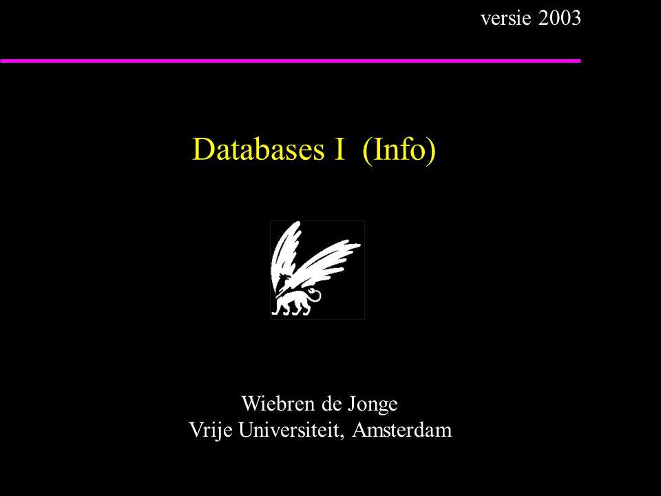 Over het college u Algemene info: –Docent:Wiebren de Jongewiebren@cs.vu.nl –Stud.ass.:Nico Vink (= 1 e aanschrijfpunt ) nvink@cs.vu.nl –Zie: www.cs.vu.nl/~wiebrendatabases I u Stof: –boek Elmasri & Navathe (grofweg H.