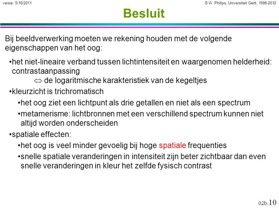 © W. Philips, Universiteit Gent, 1998-2012versie: 5/10/2011 02b. 10 Besluit Bij beeldverwerking moeten we rekening houden met de volgende eigenschappe