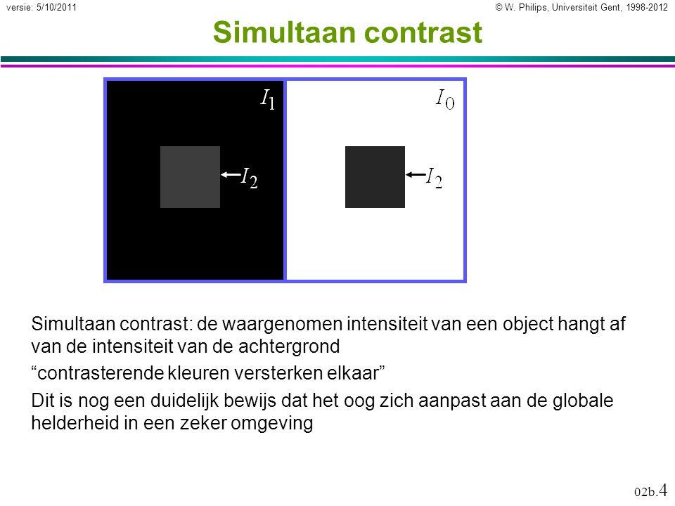 © W. Philips, Universiteit Gent, 1998-2012versie: 5/10/2011 02b. 4 Simultaan contrast Simultaan contrast: de waargenomen intensiteit van een object ha