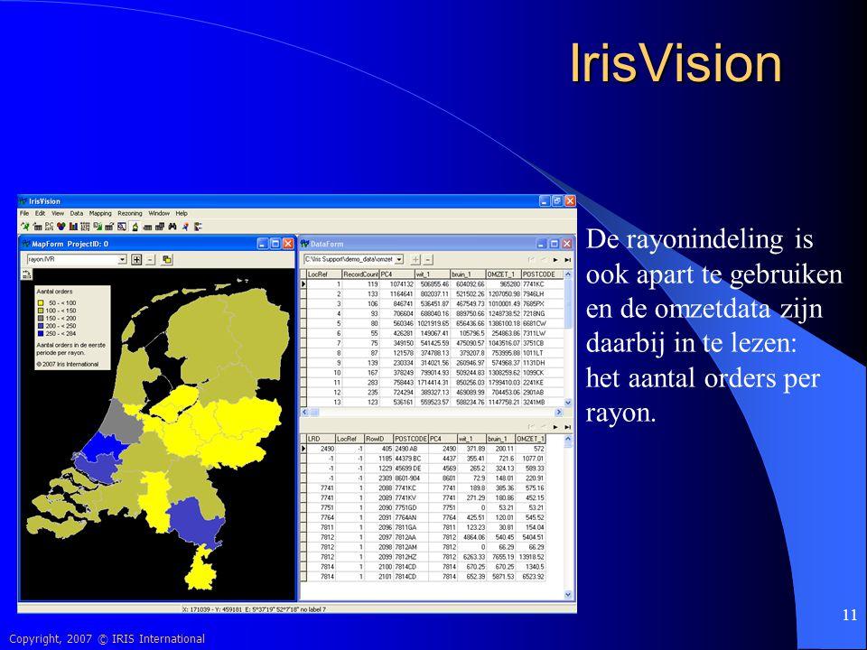 Copyright, 2007 © IRIS International 11 IrisVision De rayonindeling is ook apart te gebruiken en de omzetdata zijn daarbij in te lezen: het aantal ord