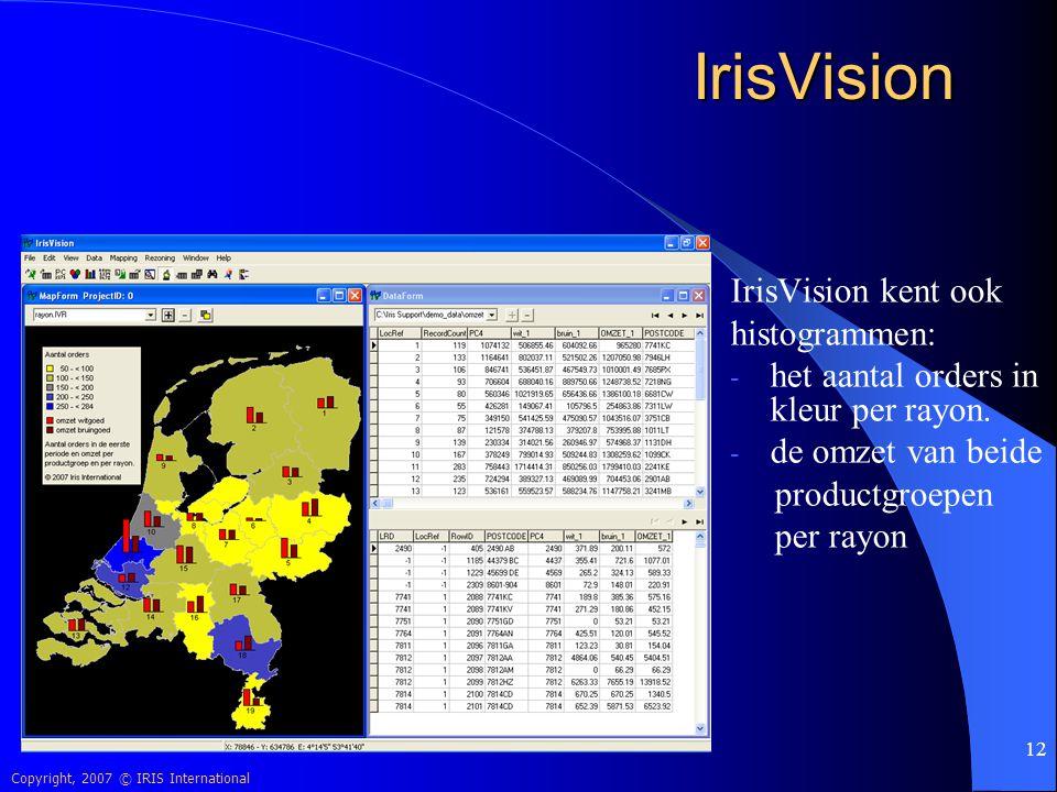Copyright, 2007 © IRIS International 12 IrisVision IrisVision kent ook histogrammen: - het aantal orders in kleur per rayon. - de omzet van beide prod