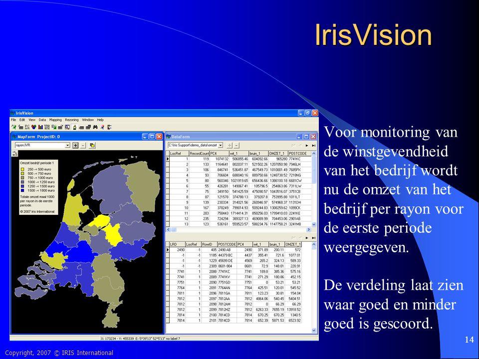 Copyright, 2007 © IRIS International 14 IrisVision Voor monitoring van de winstgevendheid van het bedrijf wordt nu de omzet van het bedrijf per rayon