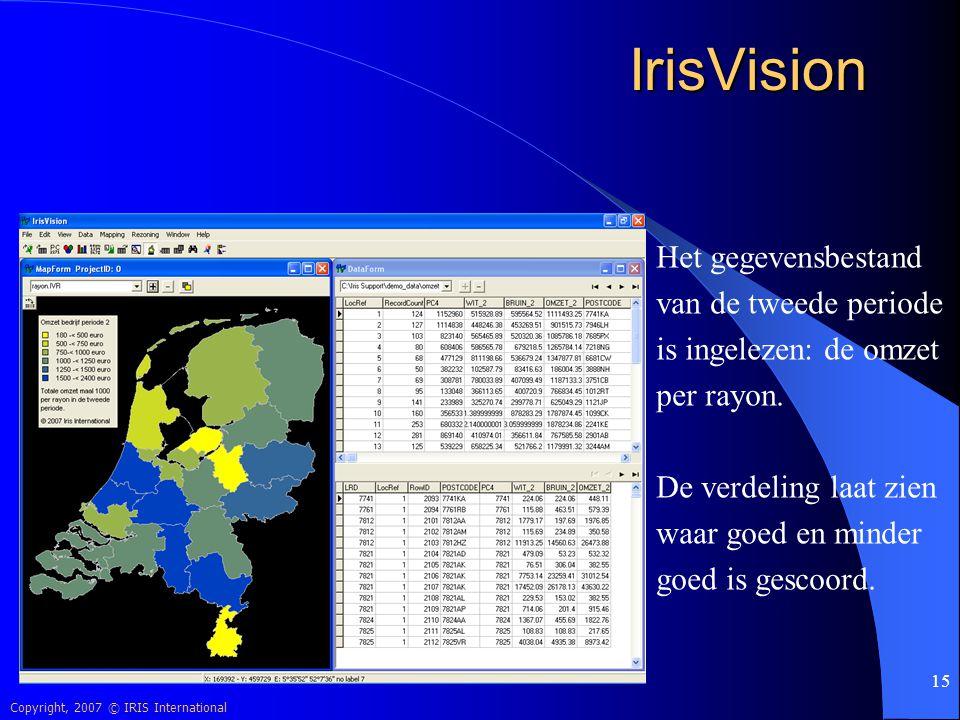 Copyright, 2007 © IRIS International 15 IrisVision Het gegevensbestand van de tweede periode is ingelezen: de omzet per rayon. De verdeling laat zien