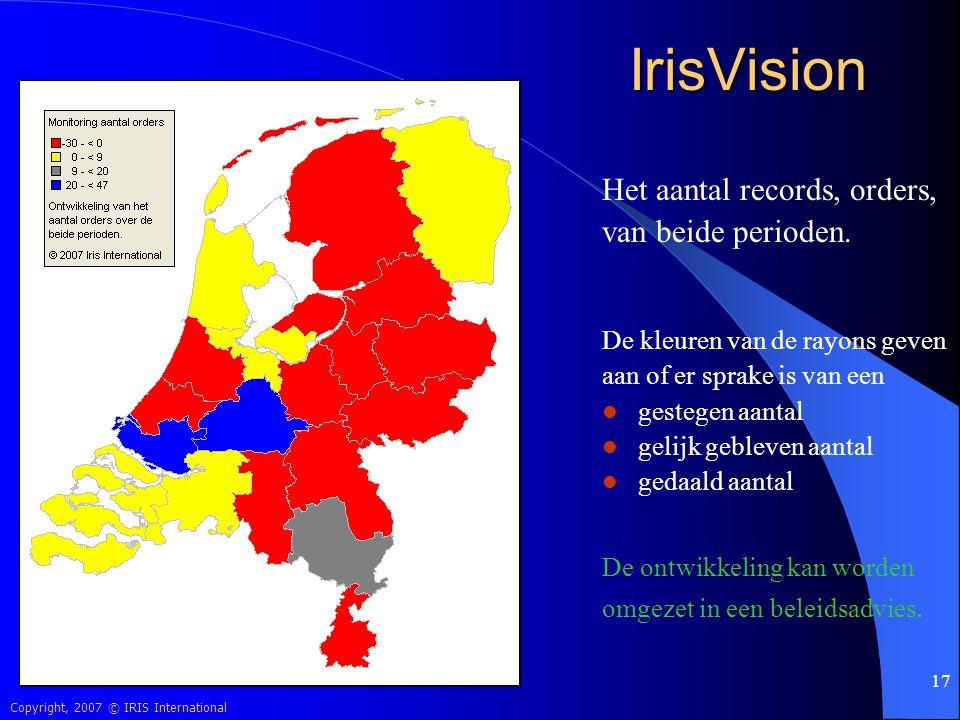 Copyright, 2007 © IRIS International 17 IrisVision Het aantal records, orders, van beide perioden. De kleuren van de rayons geven aan of er sprake is