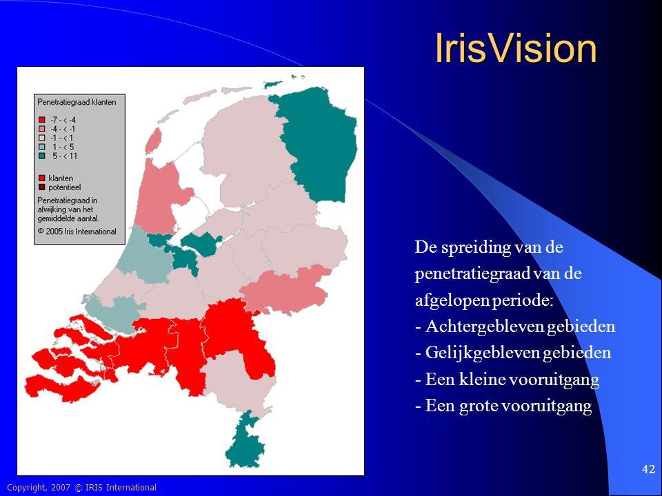 Copyright, 2007 © IRIS International 42 IrisVision De spreiding van de penetratiegraad van de afgelopen periode: - Achtergebleven gebieden - Gelijkgeb