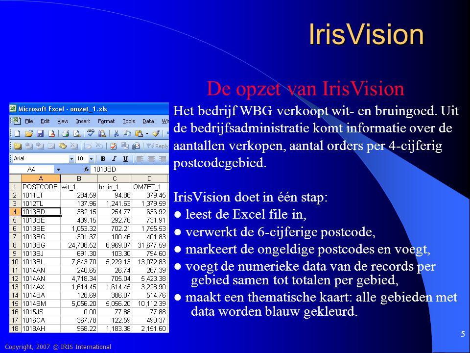 Copyright, 2007 © IRIS International 26 IrisVision De nieuwe rayonindeling is klaar, maar achteraf blijkt dat de relatietabel een aantal fouten bevat: Sommige postcodes zijn aan een verkeerd rayon gekoppeld, helemaal niet aan een rayon gekoppeld; 0 waarde (zie Limburg).