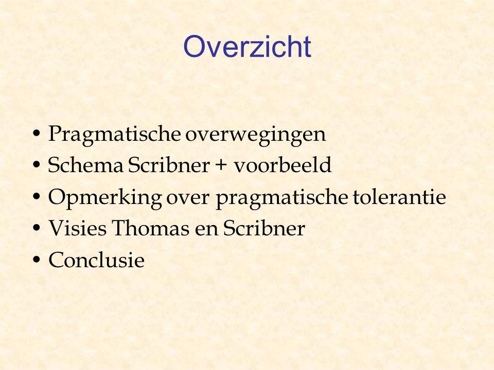Overzicht Pragmatische overwegingen Schema Scribner + voorbeeld Opmerking over pragmatische tolerantie Visies Thomas en Scribner Conclusie