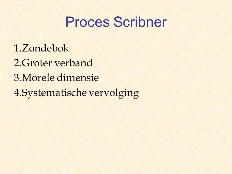 Proces Scribner 1.Zondebok 2.Groter verband 3.Morele dimensie 4.Systematische vervolging