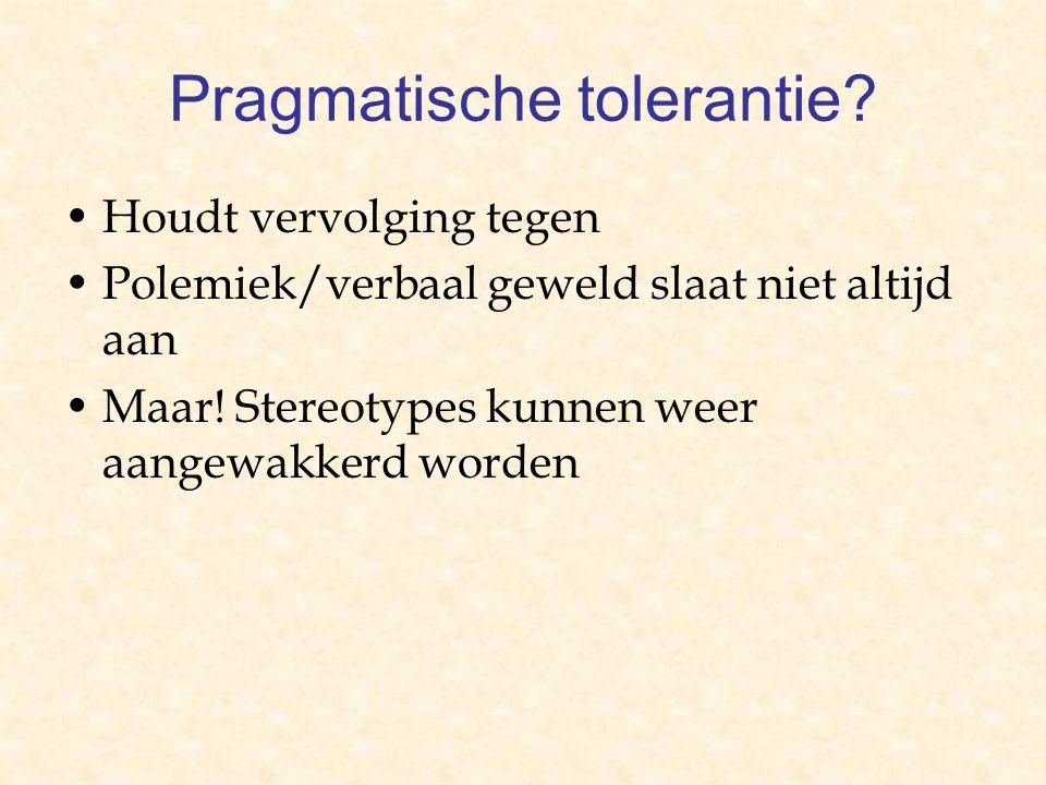 Pragmatische tolerantie. Houdt vervolging tegen Polemiek/verbaal geweld slaat niet altijd aan Maar.