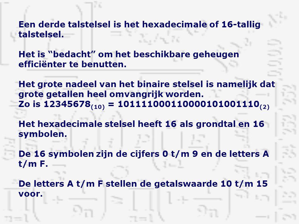 """Een derde talstelsel is het hexadecimale of 16-tallig talstelsel. Het is """"bedacht"""" om het beschikbare geheugen efficiënter te benutten. Het grote nade"""