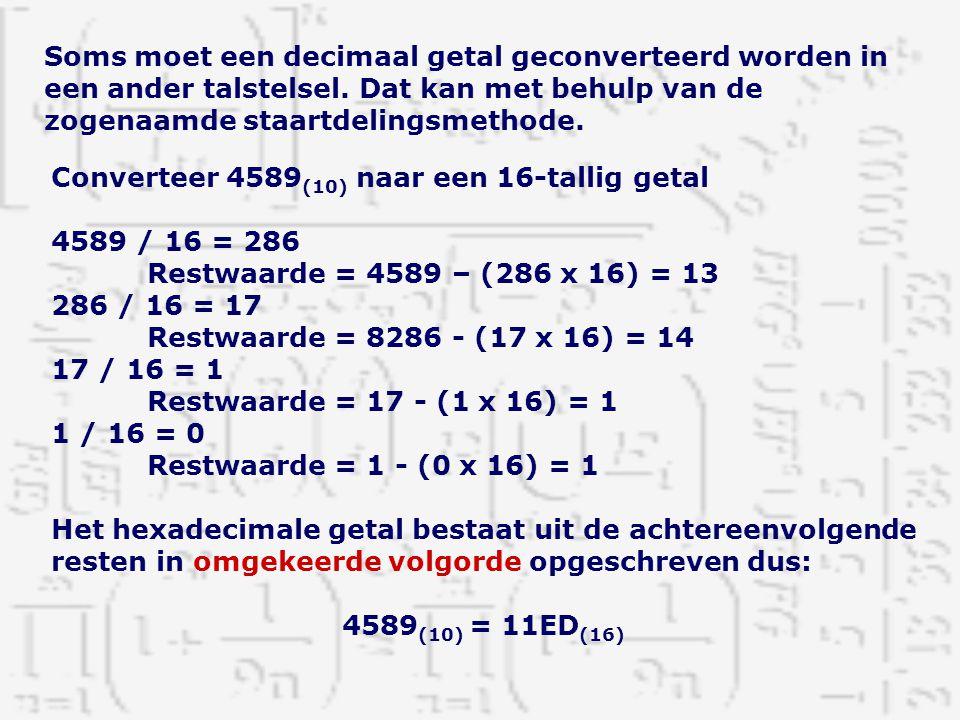 Soms moet een decimaal getal geconverteerd worden in een ander talstelsel. Dat kan met behulp van de zogenaamde staartdelingsmethode. Converteer 4589