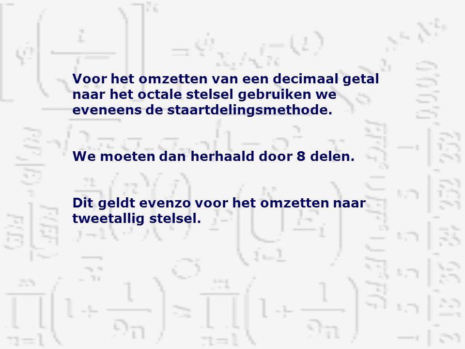 Voor het omzetten van een decimaal getal naar het octale stelsel gebruiken we eveneens de staartdelingsmethode. We moeten dan herhaald door 8 delen. D