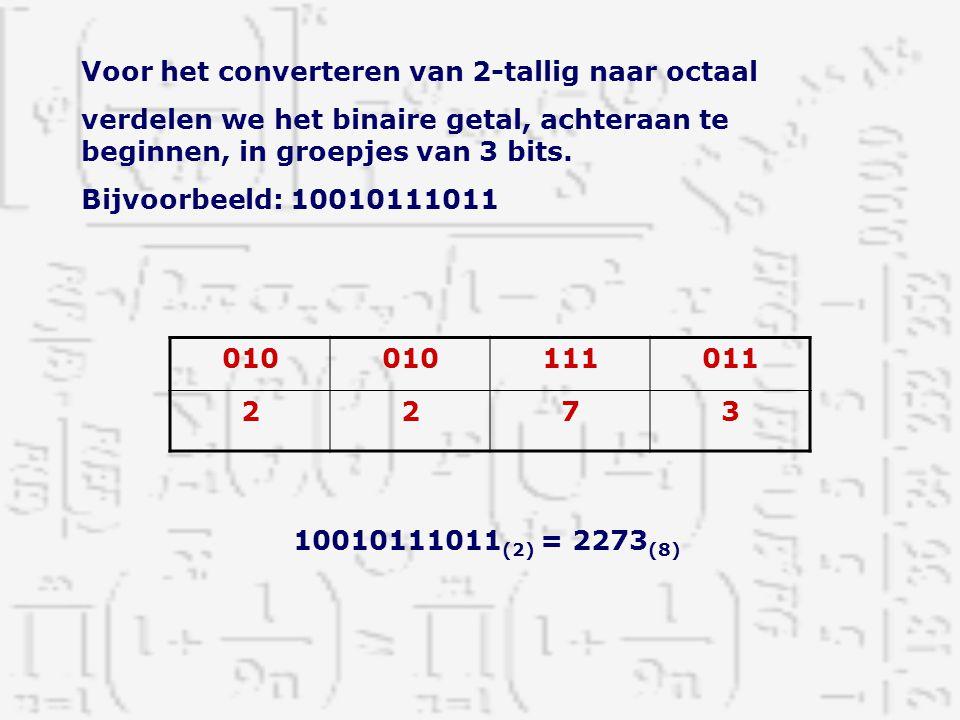 Voor het converteren van 2-tallig naar octaal verdelen we het binaire getal, achteraan te beginnen, in groepjes van 3 bits. Bijvoorbeeld: 10010111011