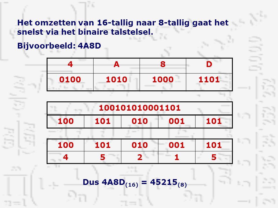 Het omzetten van 16-tallig naar 8-tallig gaat het snelst via het binaire talstelsel. Bijvoorbeeld: 4A8D 4A8D 0100101010001101 100101010001101 10010101
