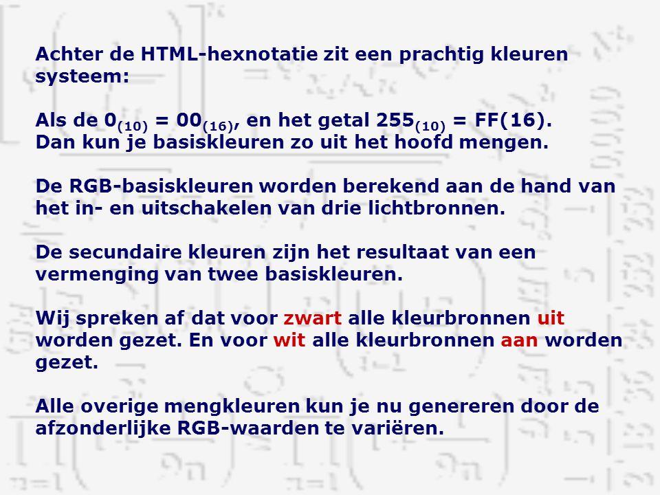 Achter de HTML-hexnotatie zit een prachtig kleuren systeem: Als de 0 (10) = 00 (16), en het getal 255 (10) = FF(16). Dan kun je basiskleuren zo uit he