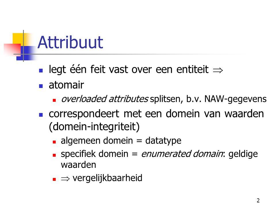 2 Attribuut legt één feit vast over een entiteit  atomair overloaded attributes splitsen, b.v.