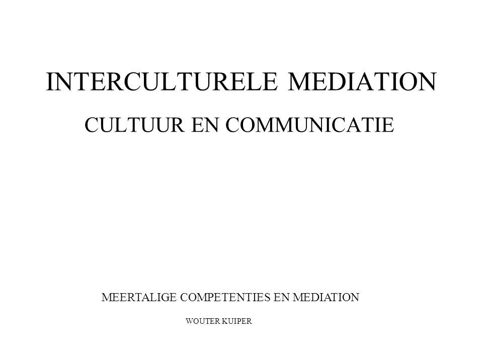 INTERCULTURELE MEDIATION CULTUUR EN COMMUNICATIE MEERTALIGE COMPETENTIES EN MEDIATION WOUTER KUIPER