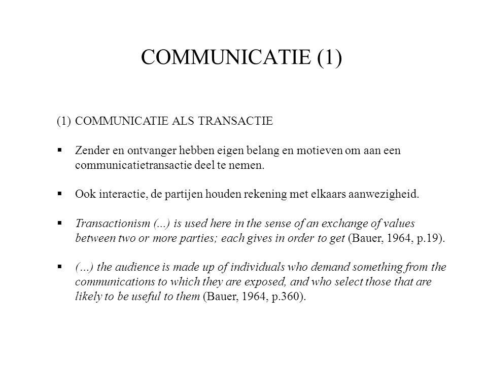 COMMUNICATIE (1) (1)COMMUNICATIE ALS TRANSACTIE  Zender en ontvanger hebben eigen belang en motieven om aan een communicatietransactie deel te nemen.