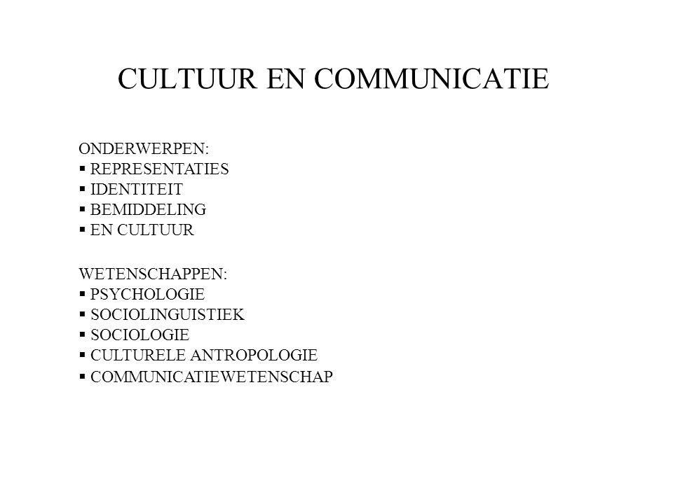 CULTUUR EN COMMUNICATIE ONDERWERPEN:  REPRESENTATIES  IDENTITEIT  BEMIDDELING  EN CULTUUR WETENSCHAPPEN:  PSYCHOLOGIE  SOCIOLINGUISTIEK  SOCIOLOGIE  CULTURELE ANTROPOLOGIE  COMMUNICATIEWETENSCHAP