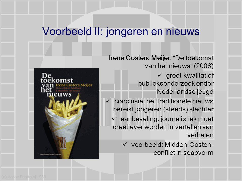 """Voorbeeld II: jongeren en nieuws Irene Costera Meijer: """"De toekomst van het nieuws"""" (2006) groot kwalitatief publieksonderzoek onder Nederlandse jeugd"""