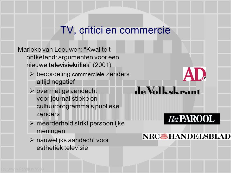 """TV, critici en commercie Marieke van Leeuwen: """"Kwaliteit ontketend: argumenten voor een nieuwe televisiekritiek"""" (2001)  beoordeling commerciële zend"""
