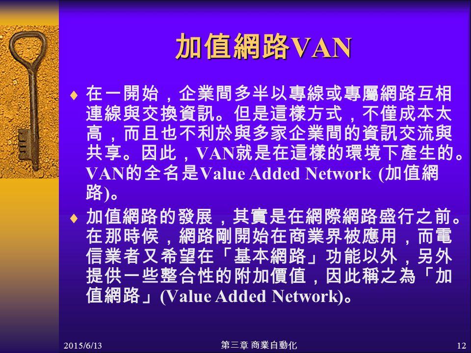 2015/6/13 第三章 商業自動化 12 加值網路 VAN  在一開始,企業間多半以專線或專屬網路互相 連線與交換資訊。但是這樣方式,不僅成本太 高,而且也不利於與多家企業間的資訊交流與 共享。因此, VAN 就是在這樣的環境下產生的。 VAN 的全名是 Value Added Network ( 加值網 路 ) 。  加值網路的發展,其實是在網際網路盛行之前。 在那時候,網路剛開始在商業界被應用,而電 信業者又希望在「基本網路」功能以外,另外 提供一些整合性的附加價值,因此稱之為「加 值網路」 (Value Added Network) 。