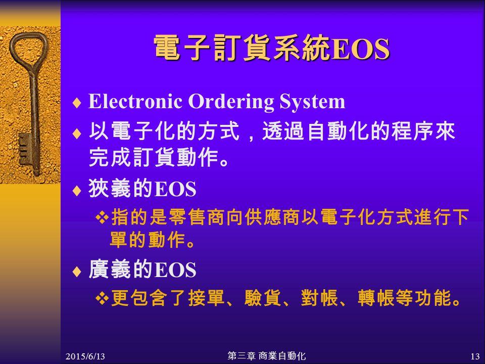 2015/6/13 第三章 商業自動化 13 電子訂貨系統 EOS  Electronic Ordering System  以電子化的方式,透過自動化的程序來 完成訂貨動作。  狹義的 EOS  指的是零售商向供應商以電子化方式進行下 單的動作。  廣義的 EOS  更包含了接單、驗貨、對帳、轉帳等功能。