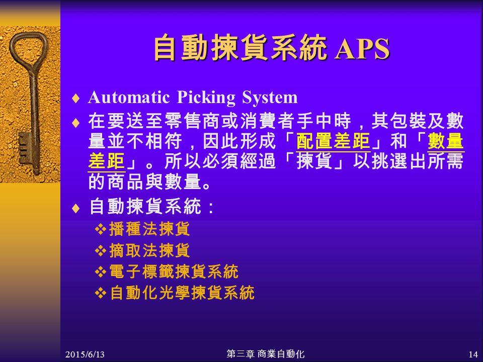 2015/6/13 第三章 商業自動化 14 自動揀貨系統 APS  Automatic Picking System  在要送至零售商或消費者手中時,其包裝及數 量並不相符,因此形成「配置差距」和「數量 差距」。所以必須經過「揀貨」以挑選出所需 的商品與數量。  自動揀貨系統:  播種法揀貨  摘取法揀貨  電子標籤揀貨系統  自動化光學揀貨系統