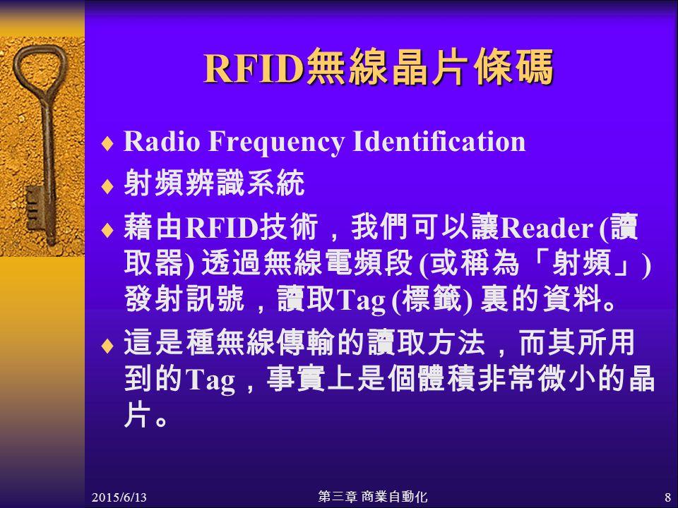 2015/6/13 第三章 商業自動化 8 RFID 無線晶片條碼  Radio Frequency Identification  射頻辨識系統  藉由 RFID 技術,我們可以讓 Reader ( 讀 取器 ) 透過無線電頻段 ( 或稱為「射頻」 ) 發射訊號,讀取 Tag ( 標籤 ) 裏的資料。  這是種無線傳輸的讀取方法,而其所用 到的 Tag ,事實上是個體積非常微小的晶 片。