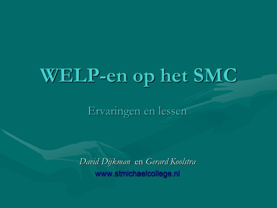 zaterdag 13 juni 2015WELP-en op het SMC Weegschaal methode Leerling kan zich concentreren op wat er moet gebeurenLeerling kan zich concentreren op wat er moet gebeuren Programma voert uitProgramma voert uit Er is altijd een weg TerugEr is altijd een weg Terug Gevolg van gemaakte keuze meteen duidelijkGevolg van gemaakte keuze meteen duidelijk Stapsgewijze aanpak wordt 'eigen'Stapsgewijze aanpak wordt 'eigen'