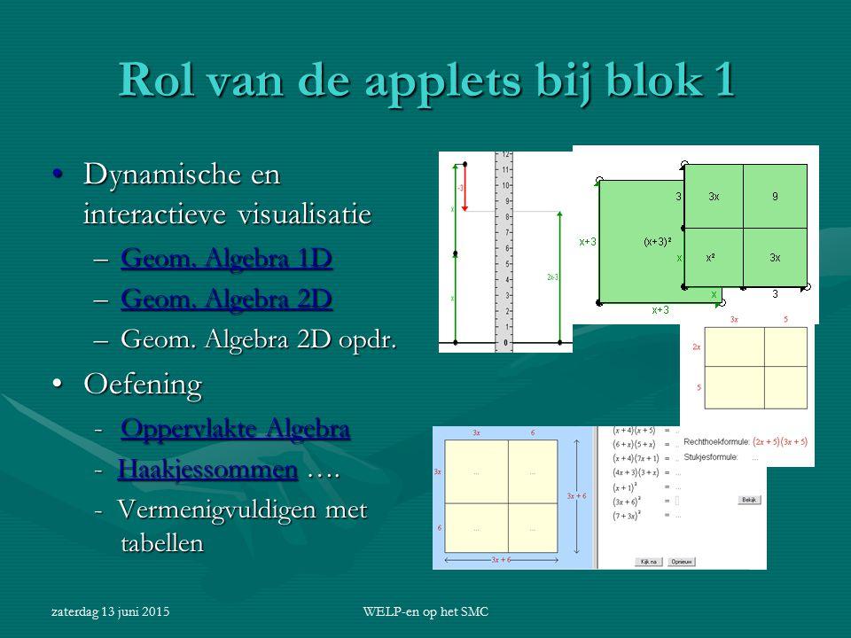 zaterdag 13 juni 2015WELP-en op het SMC Rol van de applets bij blok 1 Dynamische en interactieve visualisatieDynamische en interactieve visualisatie –