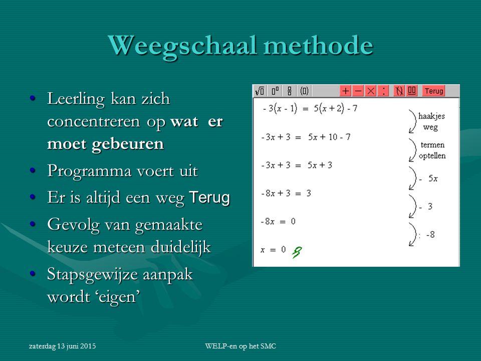zaterdag 13 juni 2015WELP-en op het SMC Weegschaal methode Leerling kan zich concentreren op wat er moet gebeurenLeerling kan zich concentreren op wat