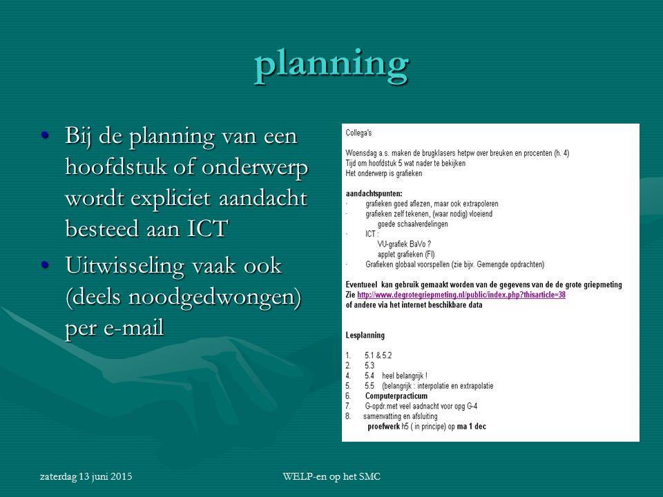 zaterdag 13 juni 2015WELP-en op het SMC planning Bij de planning van een hoofdstuk of onderwerp wordt expliciet aandacht besteed aan ICTBij de plannin