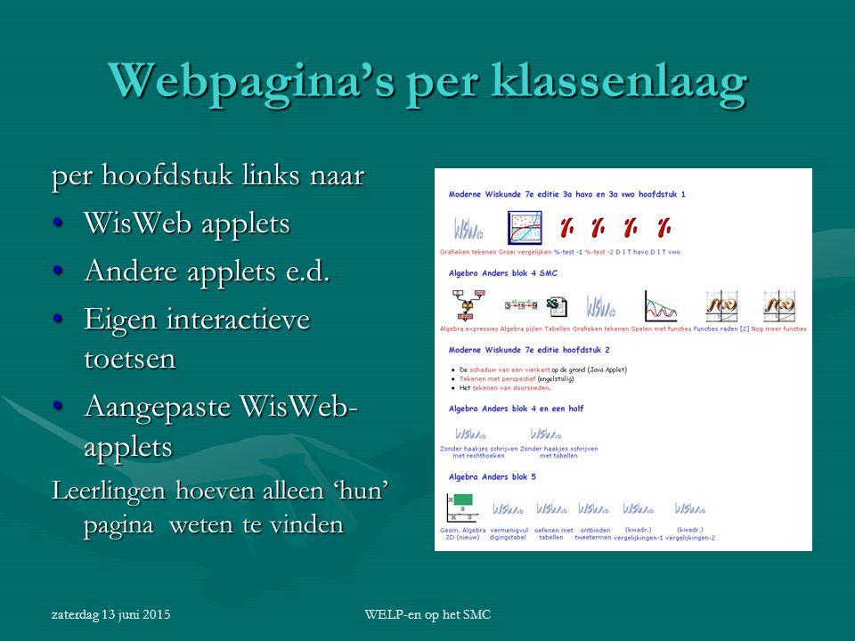 zaterdag 13 juni 2015WELP-en op het SMC Webpagina's per klassenlaag per hoofdstuk links naar WisWeb appletsWisWeb applets Andere applets e.d.Andere ap